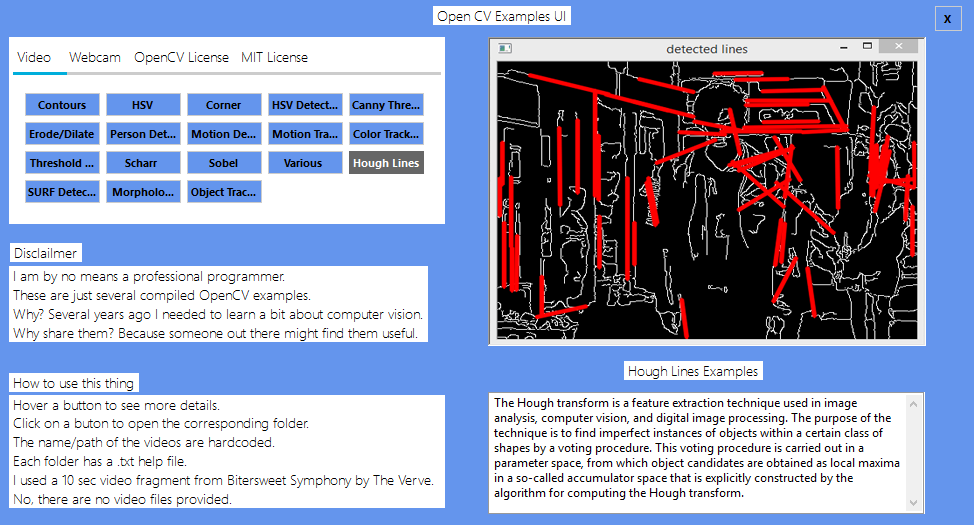 Several OpenCV compiled examples